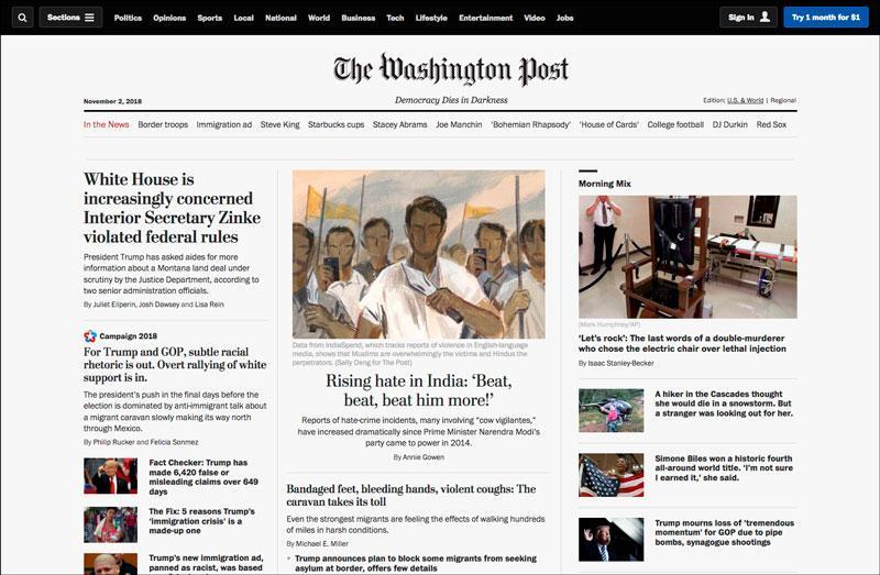 Впервой половине 2018года сайт TheWashington Post ежемесячно посещало всреднем 88миллионов уникальных пользователей — почти вдва раза больше, чемвпредыдущие три года