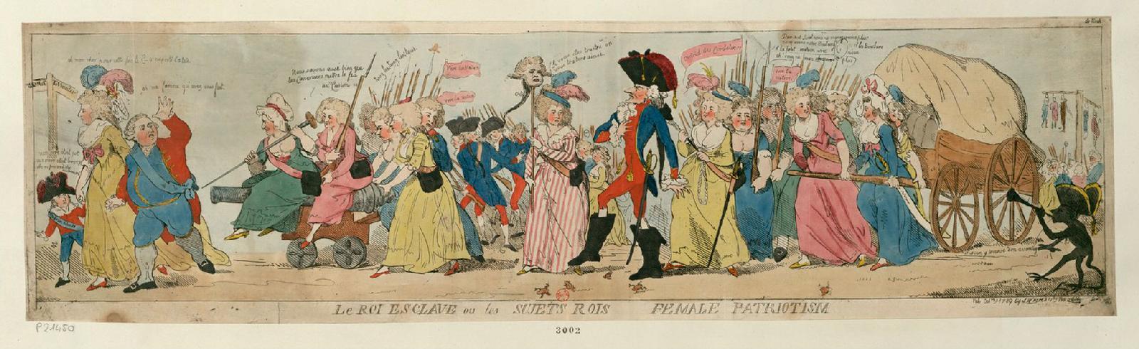 «Король рабов или подданные короли: женский патриотизм» (1789). Исаак Крукшенк. Эстамп