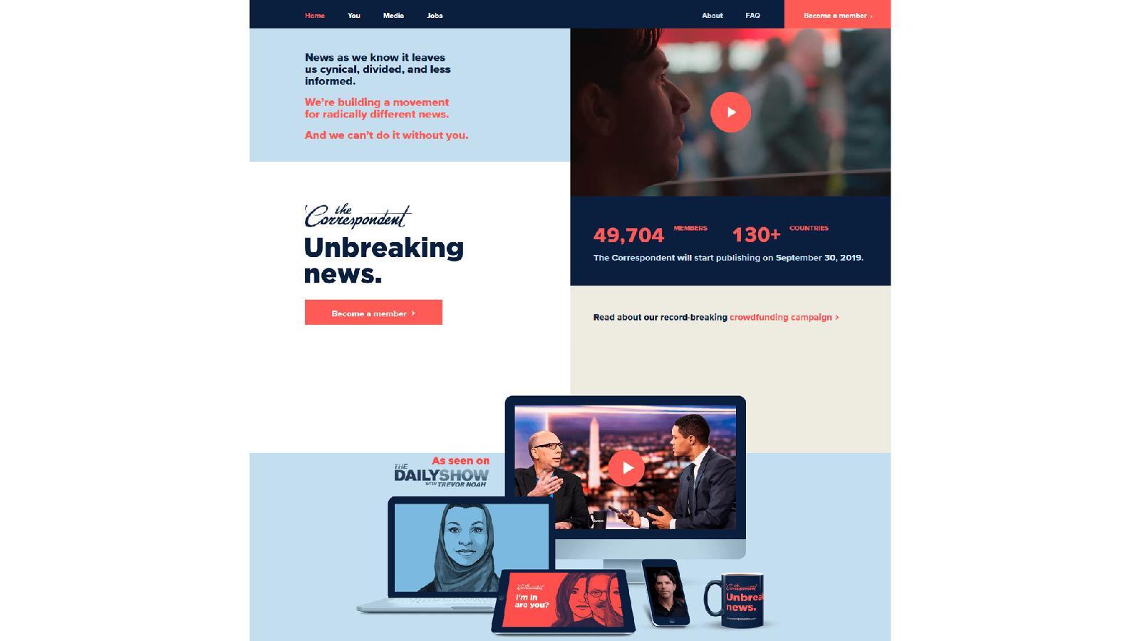 Англоязычная платформа «несрочных новостей» The Correspondent начнет работу вполноформатном режиме 30 сентября 2019года