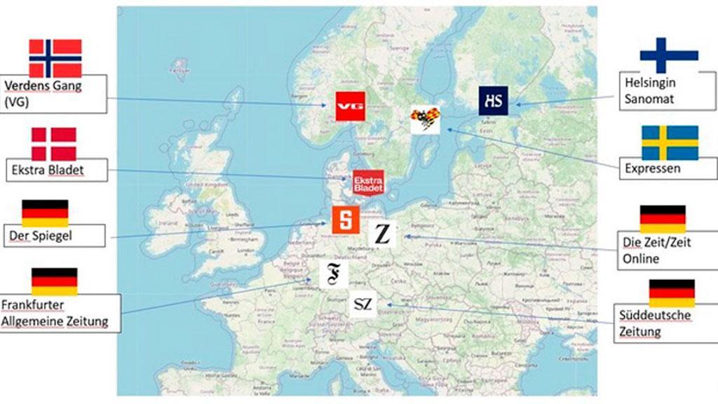 В исследовании приняли участие восемь СМИ: Frankfurter Allgemeine Zeitung, Süddeutsche Zeitung, Die Zeit, Der Spiegel, Helsingin Sanomat, Expressen, VG и Ekstra Bladet