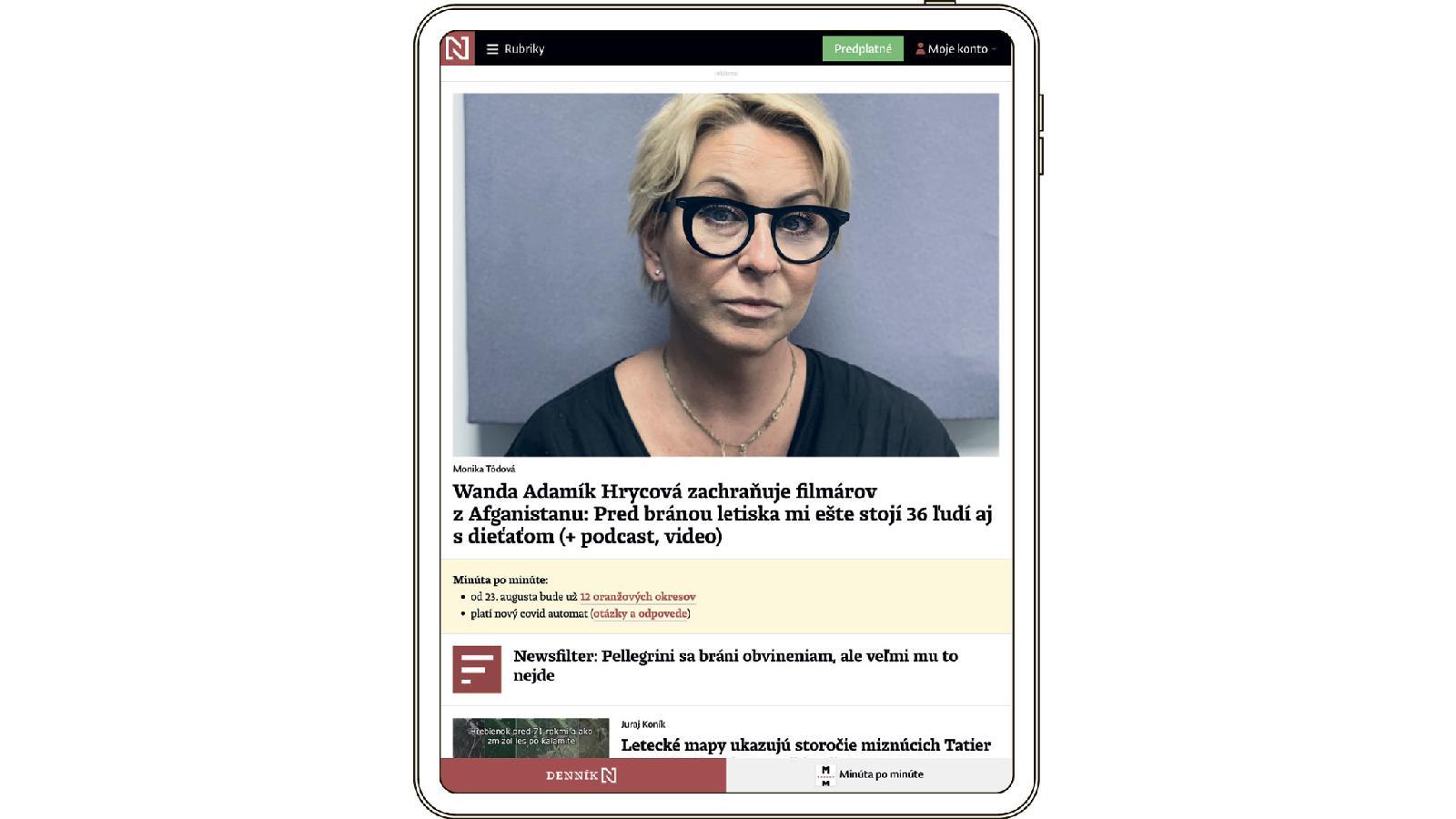 Главная страница dennikn.sk поделена на две части: слева за пэйволом размещаются лонгриды; справа — горячие новости (большинство — в свободном доступе), которые привлекают трафик