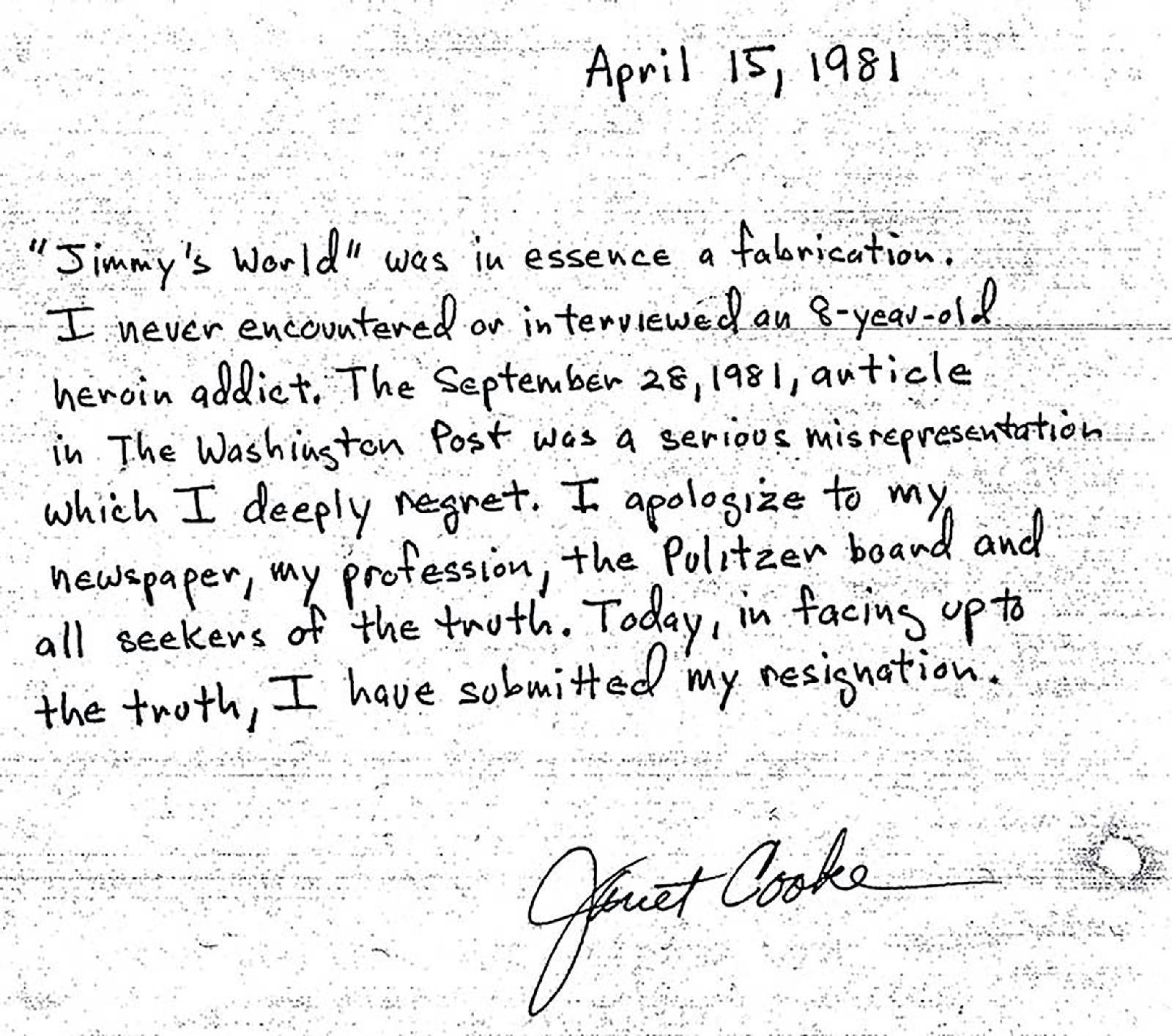 Заявление Джэнет Кук, в котором она признается, что выдумала «Мир Джимми»