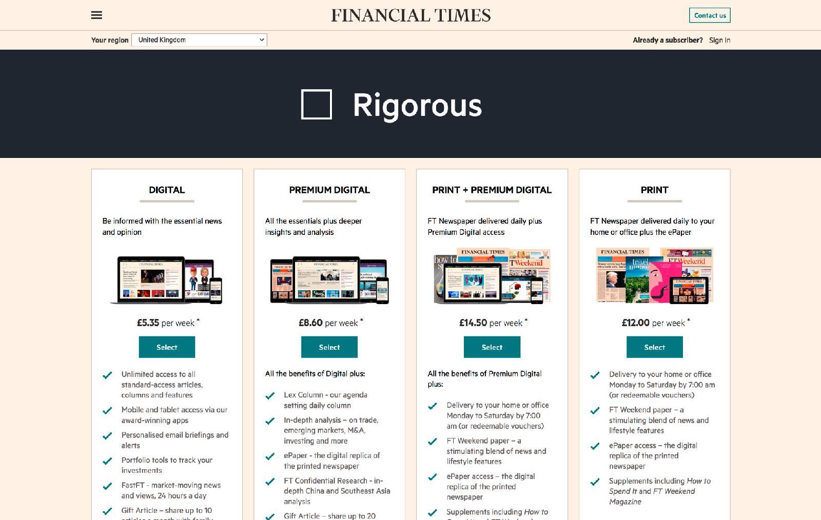 ВВеликобритании цена годовой подписки напечатную версию The Financial Times составляет £624, стоимость подписки накомбинацию бумаги ицифры — £754 вгод