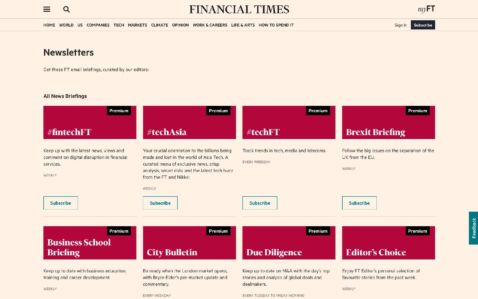Financial Times выпускает более 40 e-mail-рассылок