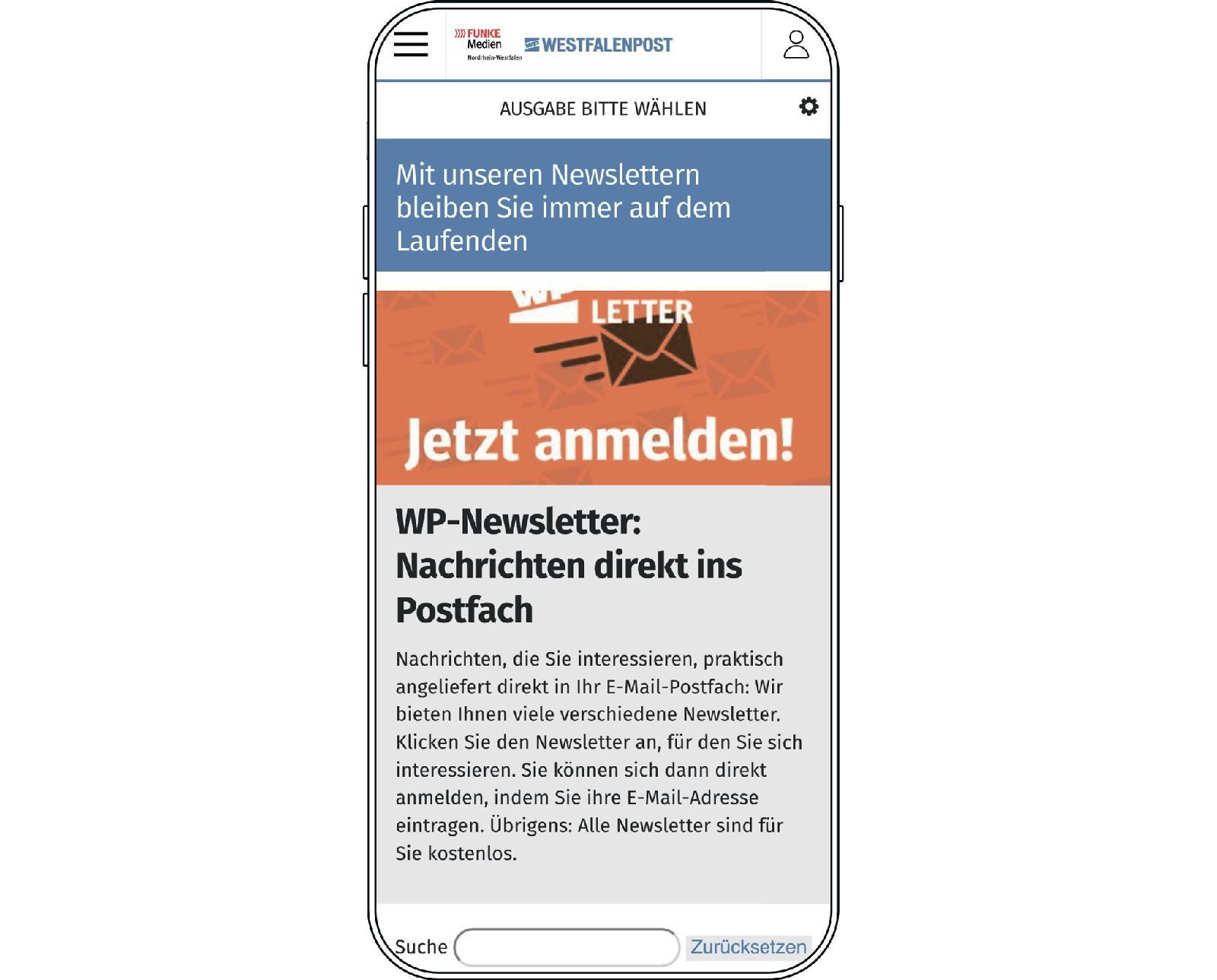 Большинство рассылок от Westfalenpost (Funke Mediengruppe) адресовано жителям конкретных городов Северного Рейна-Вестфалии