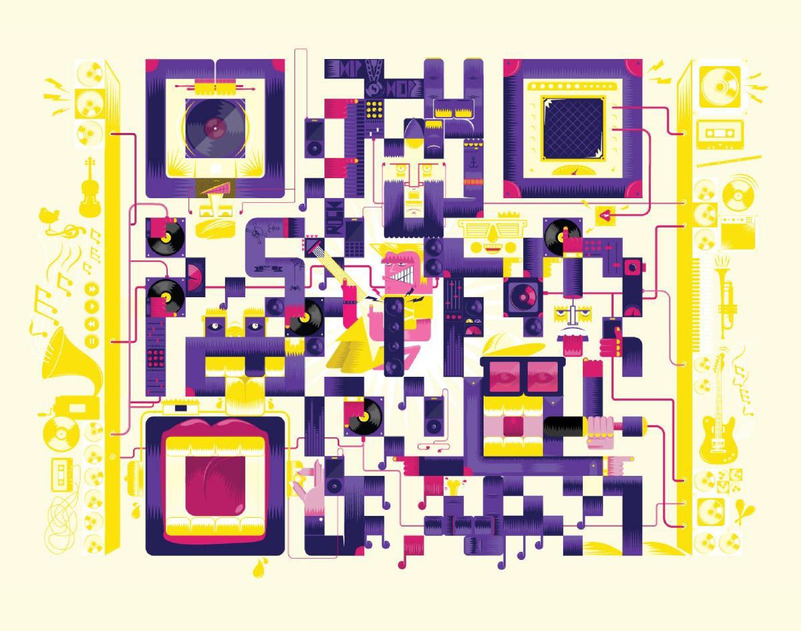 Показательный пример возможного использования QR-кодов врекламно-издательском проекте: календарь дляМТС на2012год (Изпортфолио креативного директора Арнаба Бисваса)