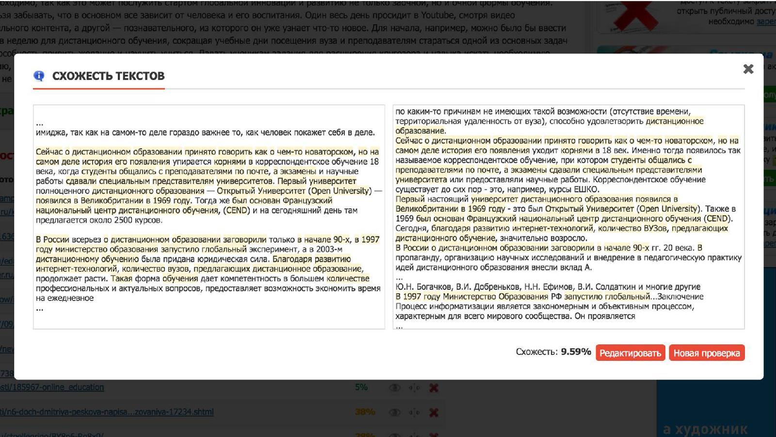 Проверка на плагиат колонки Елизаветы Песковой, опубликованной на forbes.ru