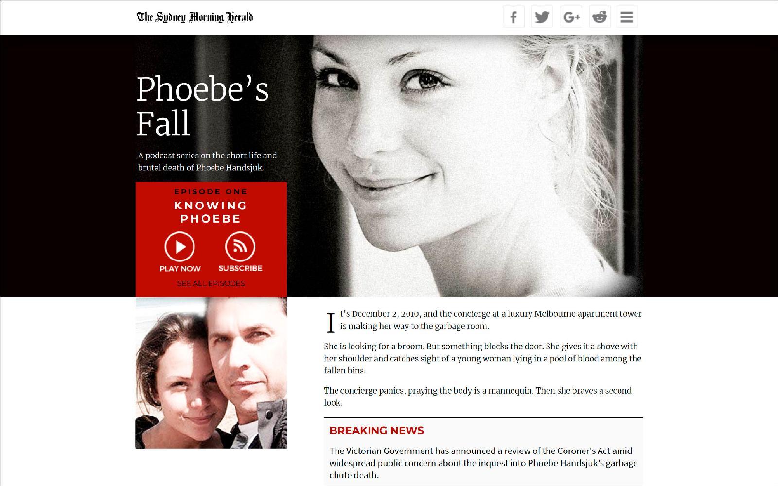 «Phoebe's Fall» («Падение Фиби») — один из самых громких подкастов, спродюсированных МакХью. Документальный аудиосериал о загадочной смерти девушки в мусоропроводе и развалившемся полицейском расследовании опубликовала газета The Sydney Morning Herald