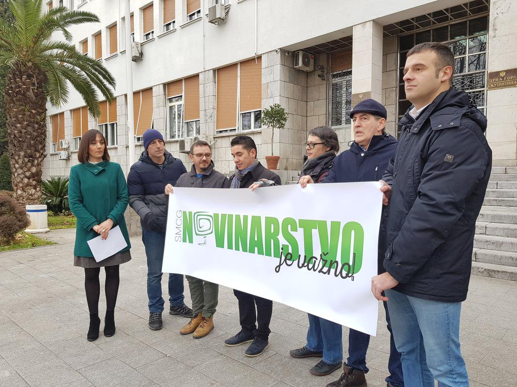 Акция солидарности с журналистами Черногории
